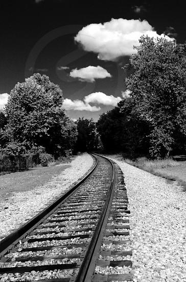 Railroad tracks black and white photo