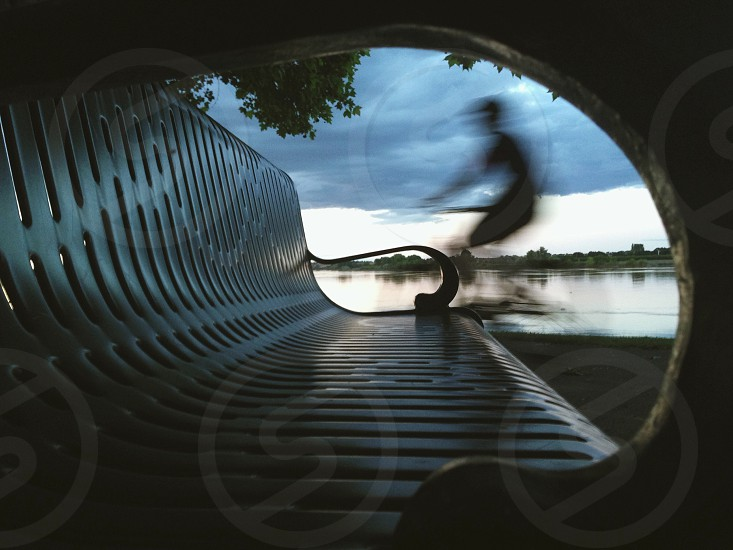 Passing cyclist.  photo