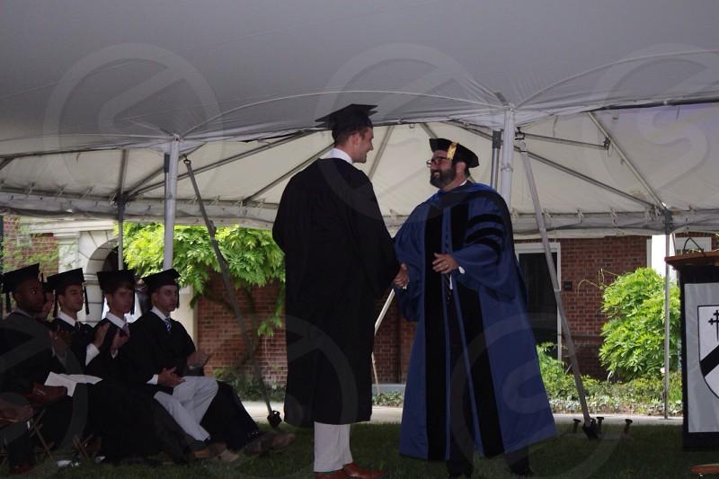 blue graduation gown photo