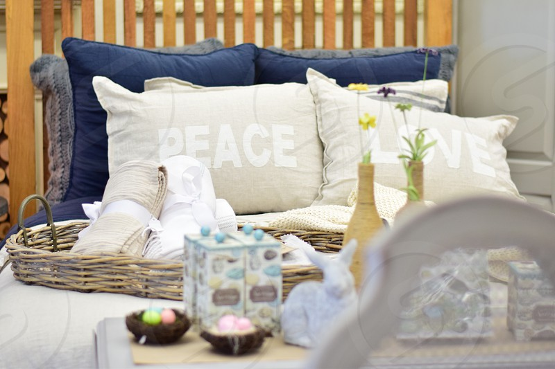 The art of Hygge.  Relaxing cozy & comfortable interiors and textures photo