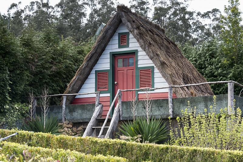 Typical old houses on Santana Madeira island Portugal photo