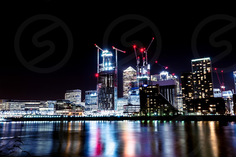 Long exposure picture of Londons skyline at night photo
