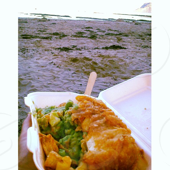Fish and chips on the beach there's nothing better!! photo