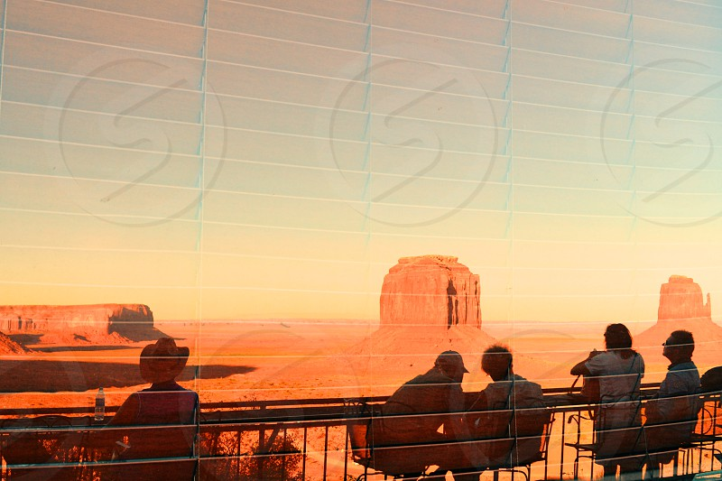 Monument Valley NP Reflection in Window with blinds photo