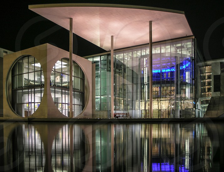 Transparency Berlin Architecture night reflection photo