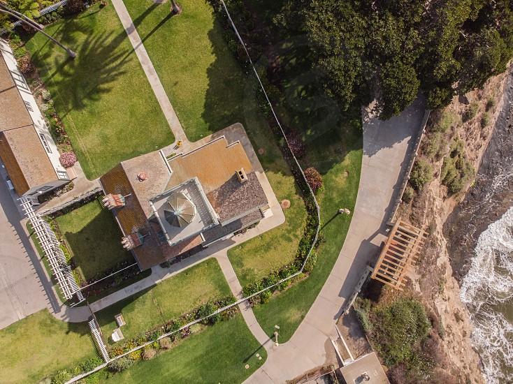 Point Fermin lighthouse overhead drone shot photo