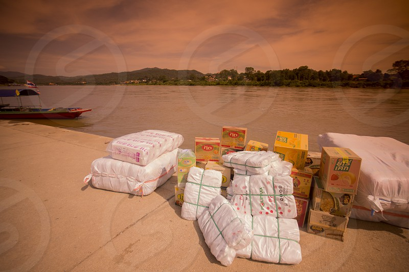 export goods are rady for the transport to lao at the mekong river at the town of Chiang khong the north of the provinz Chiang Rai in North Thailand. photo