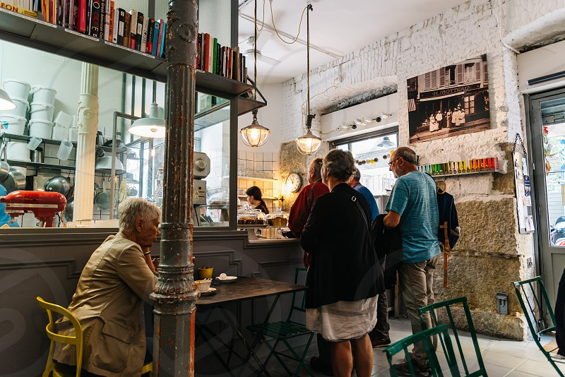 Interior view of old cafe and cake shop in city centre of Madrid photo