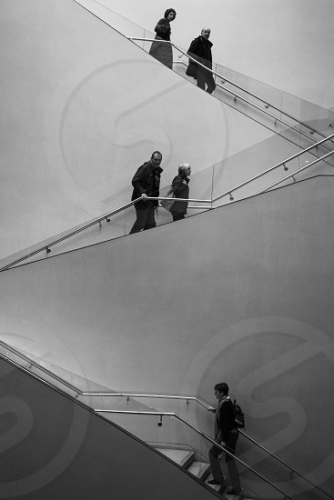 Walking up and down the stairs at the Ashmolean museum Oxford. photo