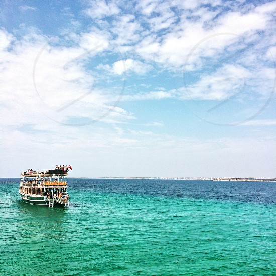 Boat trip vacation holiday Turkey party boat sea paradise trip ocean sunshine holidaymakers traveling  photo