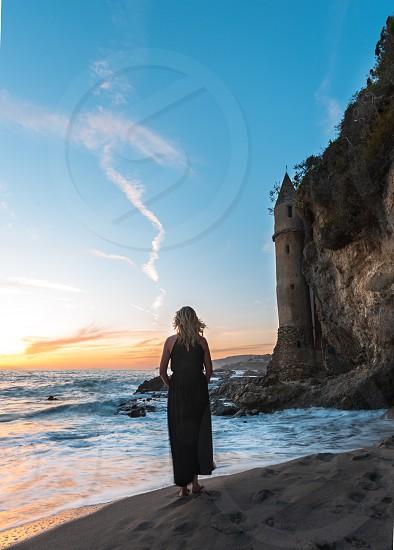 Beach sunset seascape calm photo