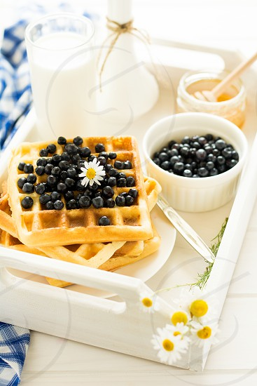 Belgian waffles with milk honey and blueberries photo