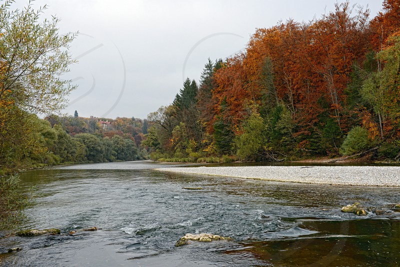 Autumn time at Isar river next to Munich Pullach photo