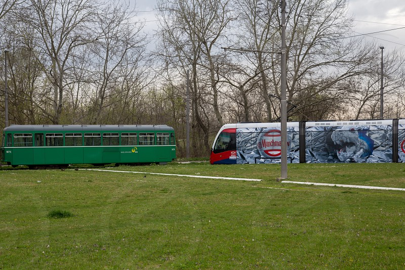 Old and new trams in Belgrade Serbia photo
