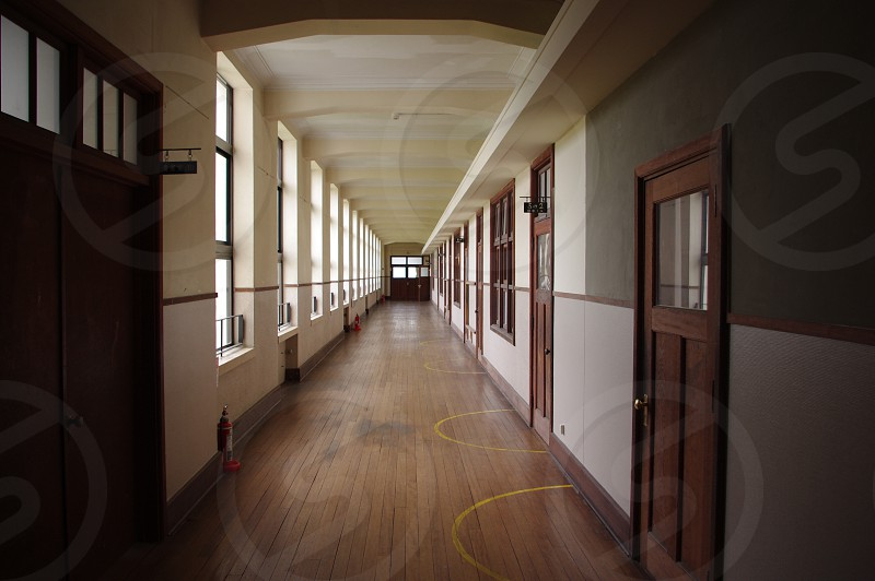 long hallway wooden flooring photo