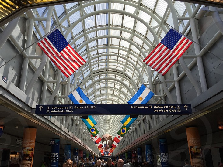 Customs flags airport terminals o'hare photo