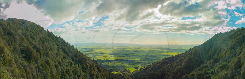 View from the top of Wairere Falls New Zealand. Taken as a 10 shot panorama photo