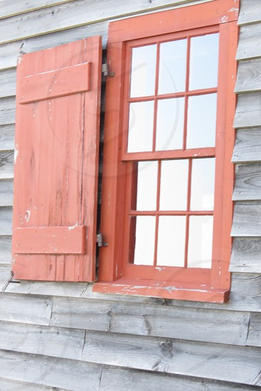 window shutters barn old historical coral color photo