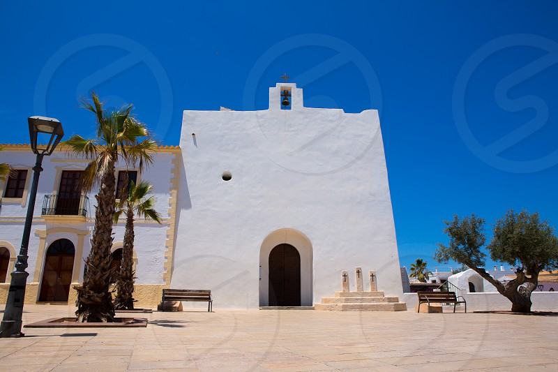 Sant Francesc Javier white church in Formentera at Balearic Islands photo