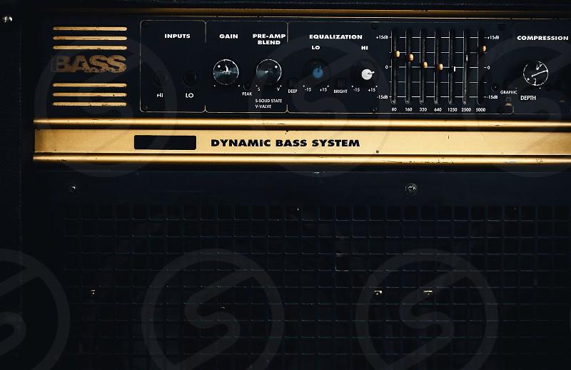 Closeup view of an old bass amplifier.  photo