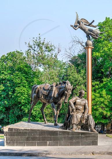 Odessa Ukraine - 05.24.2019. Monument to Ataman Anton Golovaty in Odessa on a sunny day photo