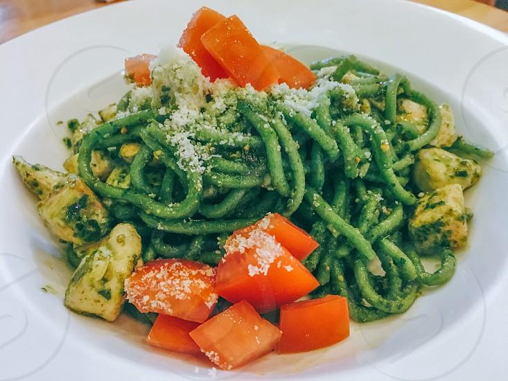 Green spinach pasta spaghetti pesto chicken salmon tomato red food foodporn foodie tasty healthy Italian photo