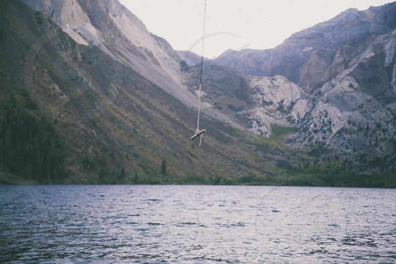 lake mountain  thread with stick photo
