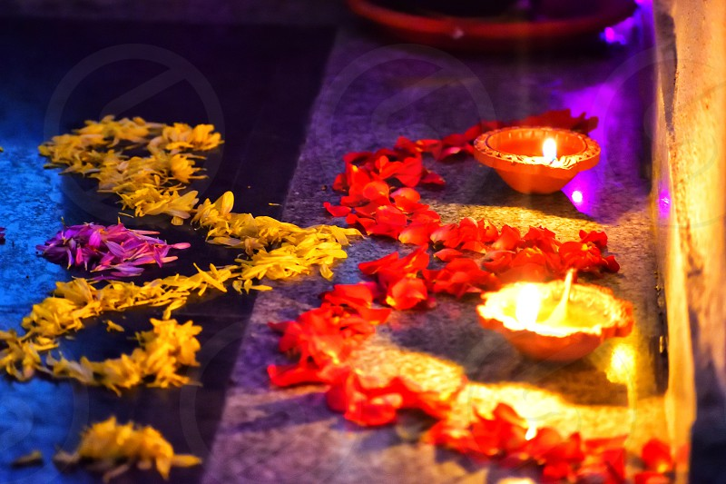 FLOWER DECORATION WITH DIYAS photo