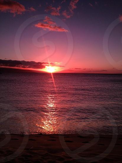 Ocean sunset Hawaii  photo