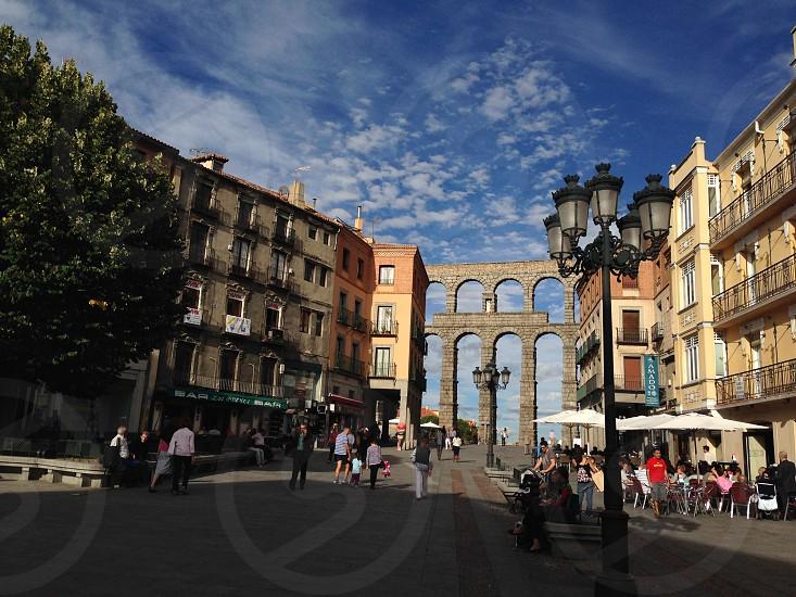 Europe town aqueduct Spain  photo