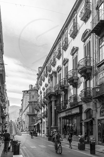 Black and white of Maqueda street - Sicily - Italy photo