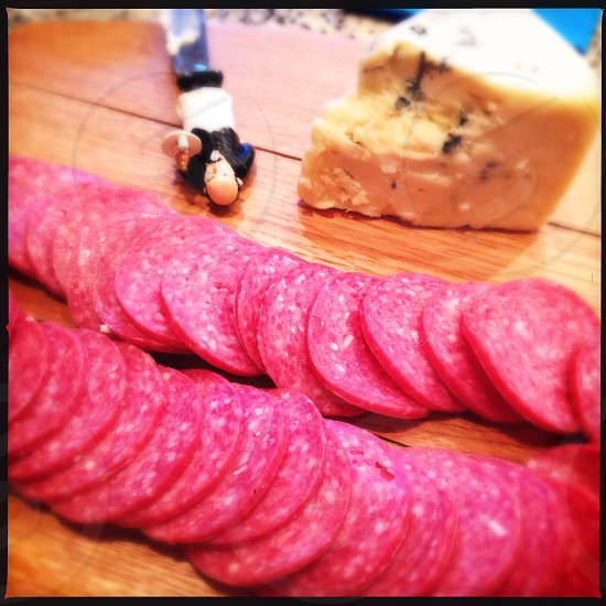 Salami and cheese plate photo