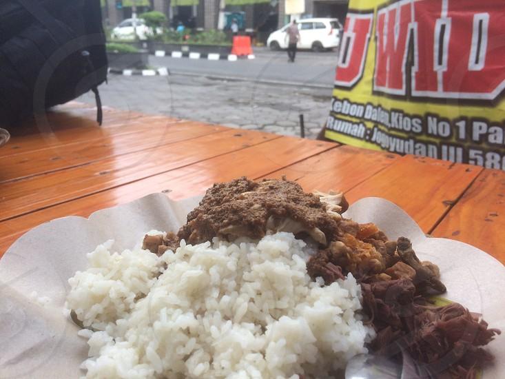 Gudeg food streetfood jogja breakfast rice photo