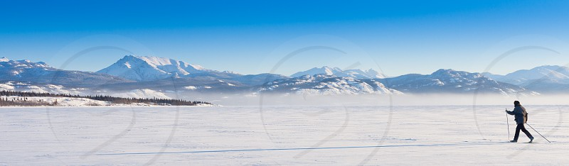 Person skiing on cross-country skis casts long shadow on untouched powder snow enjoying freedom of wide open wilderness landscape photo