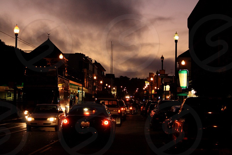 yellow and green street lamp posts photo