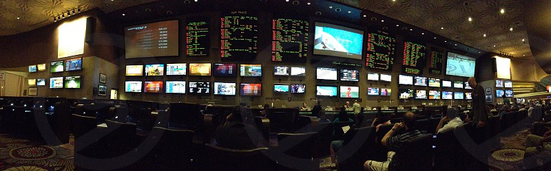 Sports book hall at the MGM Grand Las Vegas.  panoramic view.  photo