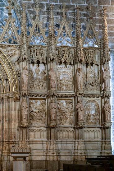 VALENCIA SPAIN - FEBRUARY 27 :  Wall of the Holy Grail Chapel in the Cathedral in Valencia Spain on February 27 2019 photo