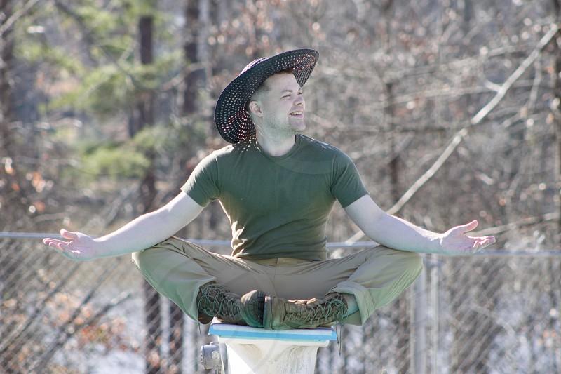 Wellness meditate pool happy man photo