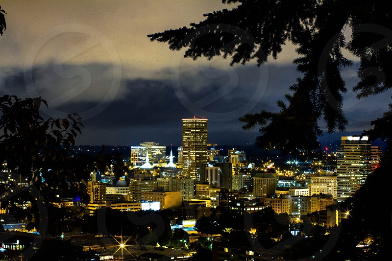 Portland cityscape skyscrapers Oregon city nightlife  photo