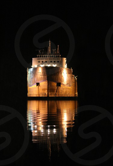 Great Lakes laker at night.  Gordon C. Leitch was launched in 1968.  St Lawrence shipping seaway photo