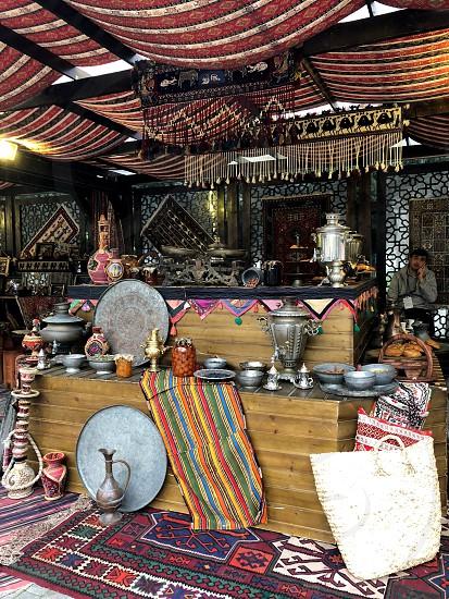Baku landscapes. National souvenirs. Carpets. Dishes. Dolls. photo
