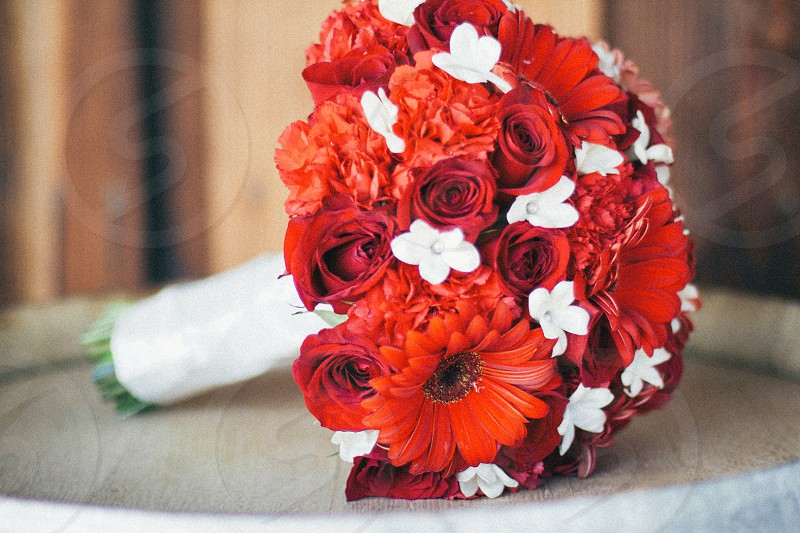 bundle of red flowers on table photo