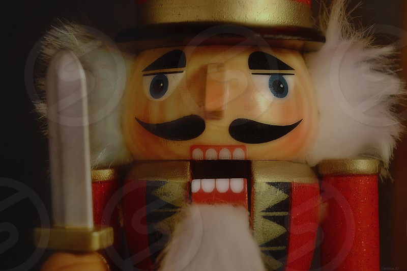 Holiday Classic Nutcracker soldier with expressive face. photo