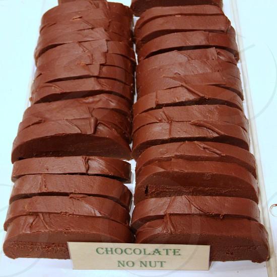 Slabs of chocolate no nut fudge  state fair food photo