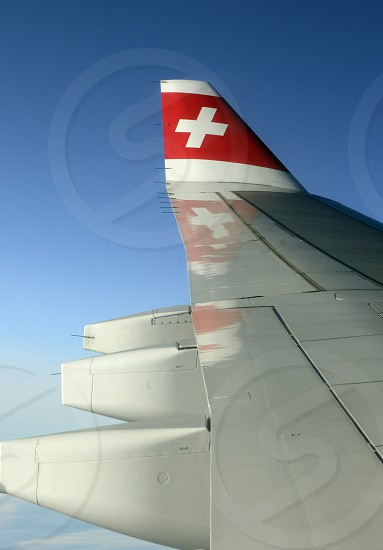 a airplane of Swiss Airlines on the way to Bangkok in Thailand in Suedostasien. photo