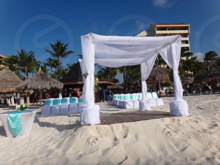 armed altar upon the beach for a luxurious wedding in aruba photo