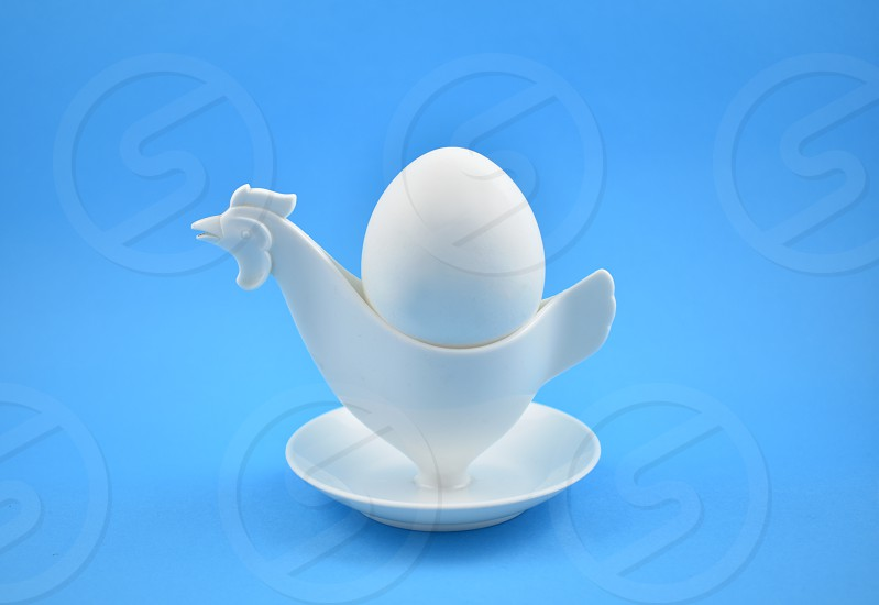 White egg. Chicken egg holder. Easter egg on a blue background. Plastic egg cup on a blue background. Breakfast still life photo