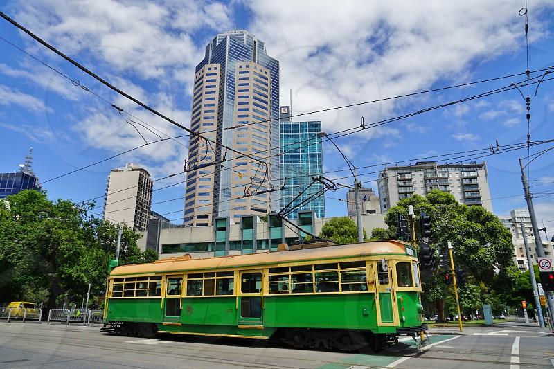 A city circle classic tram in Melbourne City Center - Melbourne Victoria Australia photo