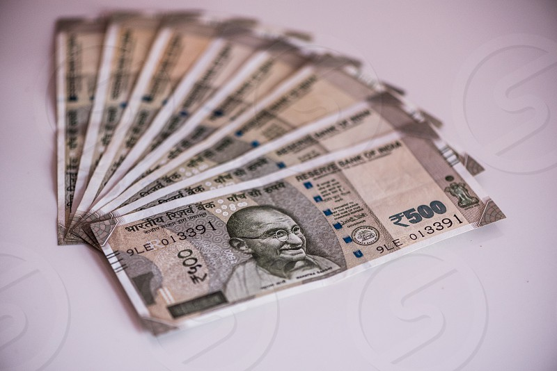 Indian newly designed currency notes a value of Rupees Five hundred photo