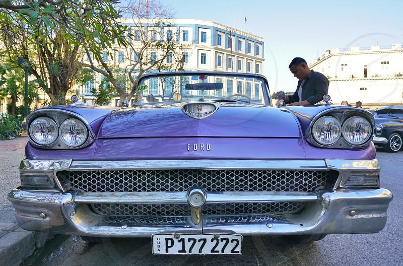 Cuban license plate on an old classic vintage car in Havana Cuba photo